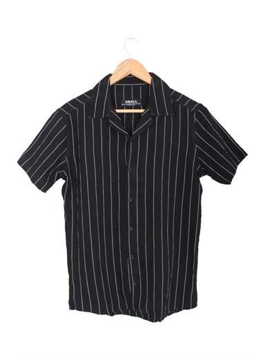 Oksit Zack Çizgili Kısa Kollu Slim Fit Erkek Gömlek Siyah